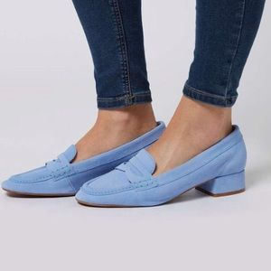 TopShop Leather Suede KAVE Block Heel Loafers